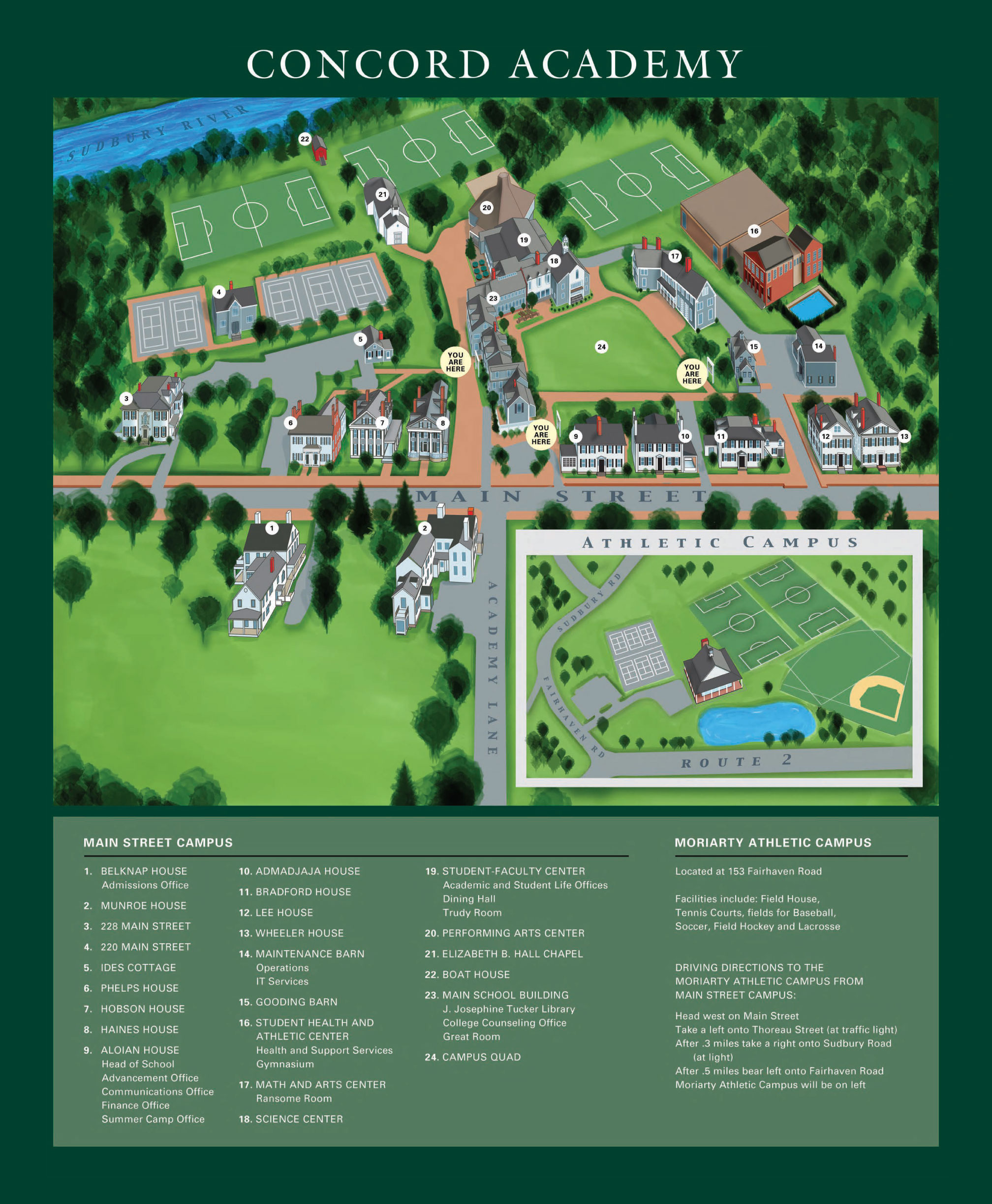 concord campus map Contact Us Directions Concord Academy concord campus map